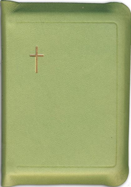 Virsikirja, tasku KPV97K, nahkakansi, 8x11 cm, suojareuna, kultasyrjä, limenvihreä