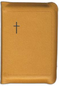 Virsikirja, tasku KPV94K, nahkakansi, 8x11 cm, suojareuna, kultasyrjä, oranssinkeltainen