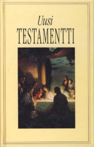"""Uusi testamentti, kuvakansi, """"ehtoollinen"""", yksipalstainen teksti, koko 114 x 180 mm"""