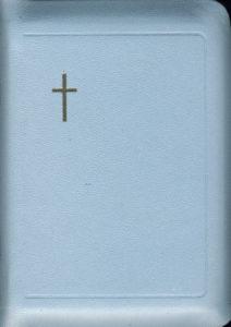 Virsikirja, tasku KPV37K, nahkakansi, 8x11 cm, kultasyrjä,suojareuna, vaaleansininen