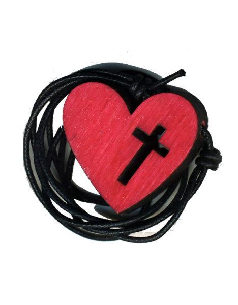 Sydänristi-kaulakoru (punainen)