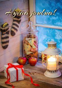 Joulukortti (Piparit, omenat ja lyhty)