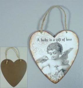 "Metallinen sisustuskyltti ""A baby is a gift of love"""