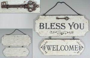 """Puinen sisustuskyltti """"Bless You, Welcome"""""""