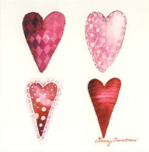 Avattava neliökortti: Sydämet