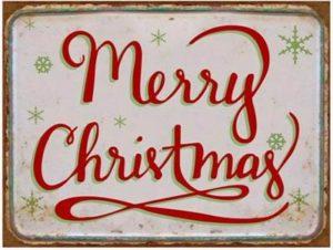 """Metallinen sisustuskyltti """"Merry Christmas"""""""