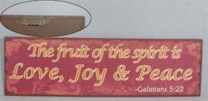 """Metallinen sisustuskyltti """"The fruit of the spirit"""""""