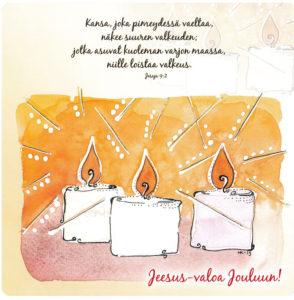 Jeesus-valoa Jouluun -kortti