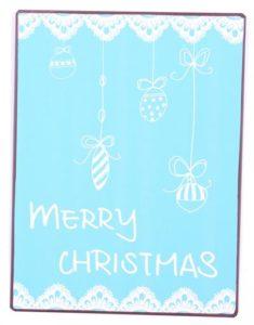 """Metallinen sisustuskyltti """"Merry Christmas vaal.sin."""""""