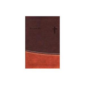Taskuraamattu 33/38, tummanruskea/ruskea, nahkajäljitelmä, reunahakemisto, kultasyrjä