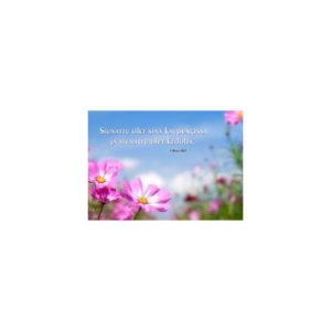 Kortti: Sinitaivas ja kukat (5Moos. 28:3)