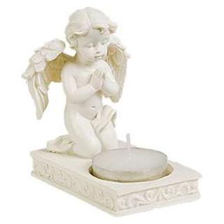 Valkoinen enkeli ja lämpökynttilä koristealustalla, (korkeus 9 cm)
