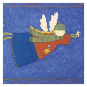 Postikortti: Suomalainen villasukka-enkeli