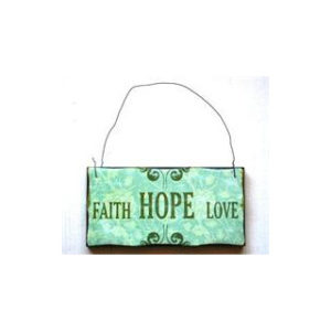 "Puinen sisustuskyltti ""Faith, hope, love"""