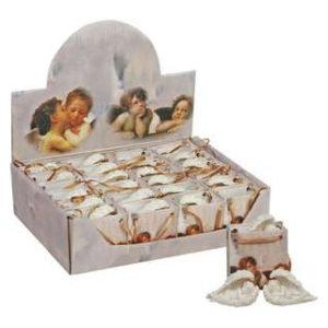 Siipien suojassa nukkuva enkeli pussissa (korkeus 6 cm)