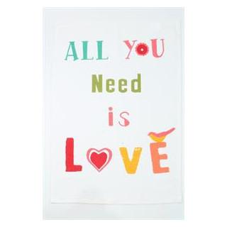 """Astiapyyhe tekstillä """"All you need is love"""""""