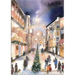Joulukortti: Kävelykatu