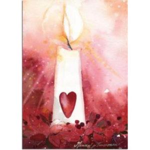Joulukortti: Kynttilän sydän