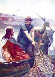 Postikortti, Jeesus ja Pietarin kalansaalis