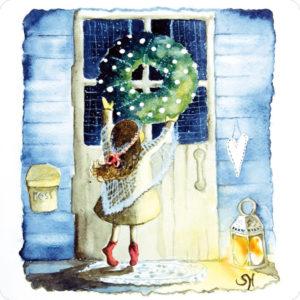 Jouluinen tyttö -joulukortti