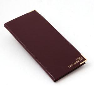 Uusi testamentti, nahkajäljitelmäkansi, kultasyrjä, viininpunainen