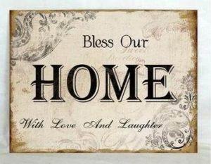 """Metallinen sisustuskyltti """"Bless Our HOME .."""""""