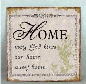 """Metallinen sisustuskyltti """"Home may God bless.."""""""
