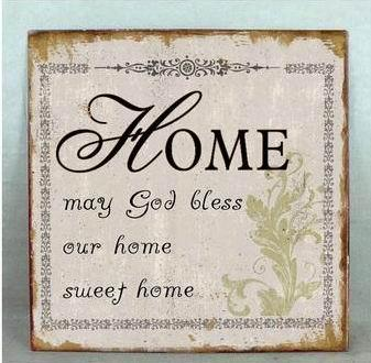 "Metallinen sisustuskyltti ""Home may God bless.."""