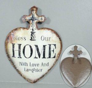 """Metallinen sisustuskyltti (risti) """"Bless our home.."""""""
