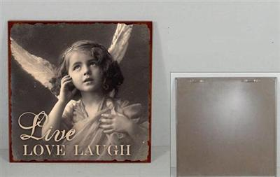"""Metallinen sisustuskyltti """"Live, Love, Laugh"""""""