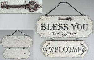 "Puinen sisustuskyltti ""Bless You, Welcome"""