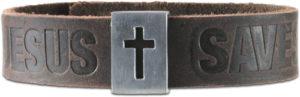 """Nahkainen ranneke """"Jesus Saves"""""""