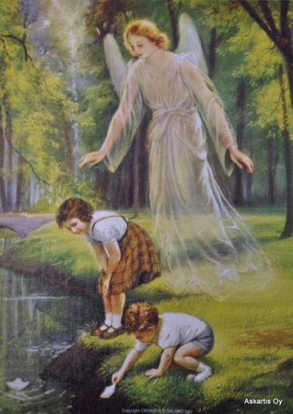 Painokuva: Suojelusenkeli ja lapset veden äärellä (15 x 20 cm)