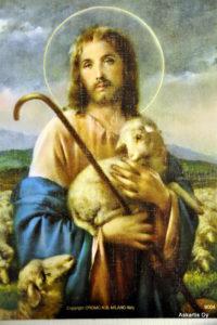 Painokuva: Hyvä paimen sylissään lammas ja sauva (20 x 25 cm)