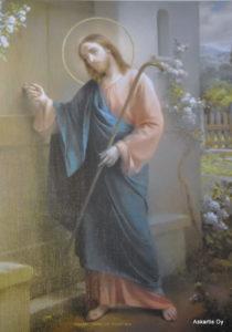 Painokuva: Jeesus kolkuttaa ovelle