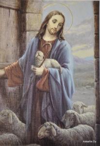 Painokuva: Hyvä Paimen, Jeesus lampaiden keskellä lammastarhan ovella