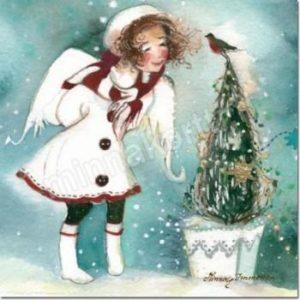 Joulukortti: Enkeli ja lintu