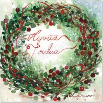 Joulukortti: Puolukkakranssi