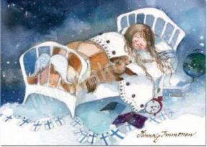 Joulukortti: Hyvää yötä