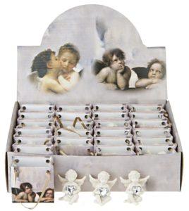 Valkoinen enkeli ja lasisydän pussissa (korkeus 5 cm)