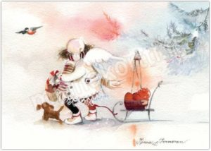 Joulukortti: Omenakelkka enkeli
