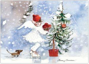Joulukortti: Omenakori enkeli