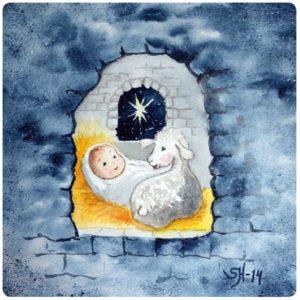 Jeesus ja lammas -joulukortti