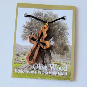 Kaulariipus, risti, oliivipuu (26 x 46 mm)
