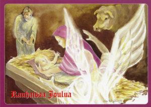 "Joulukortti, ""Jeesus, Maria, Joosef ja enkeli"""