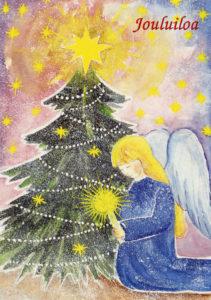 """Joulukortti, """"Enkeli, kuusi ja kynttilä"""""""