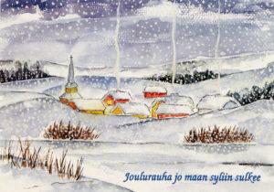Joulukortti, Kirkko ja kylä
