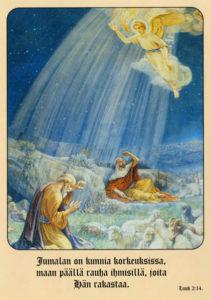 Joulukortti, Enkeli ilmestyy paimenille