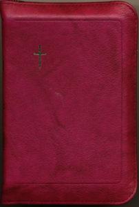 Virsikirja tasku KPV35K, nahkakansi, 8x11 cm, suojareuna, kultasyrjä, viininpunainen