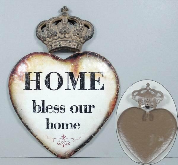 "Metallinen sisustuskyltti (kruunu) ""Bless our home"""
